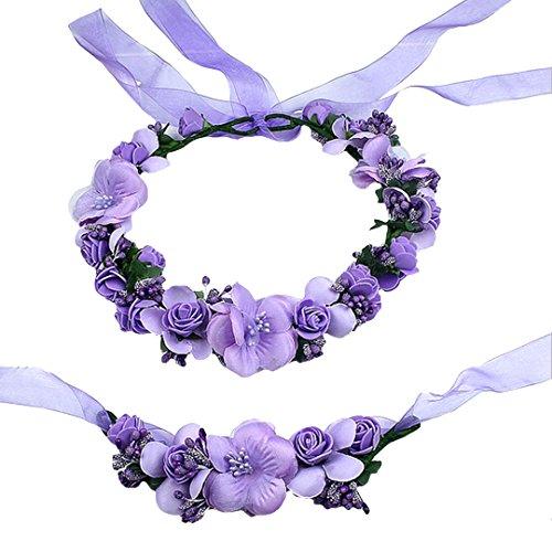 AiSi Blumenkranz mit Armband, Handgelenk Band Haarband Set, Stirnband Haarkranz Blumen Krone Boho Style für Festival Hochzeit Braut Brautjungfer Party (Lila) -