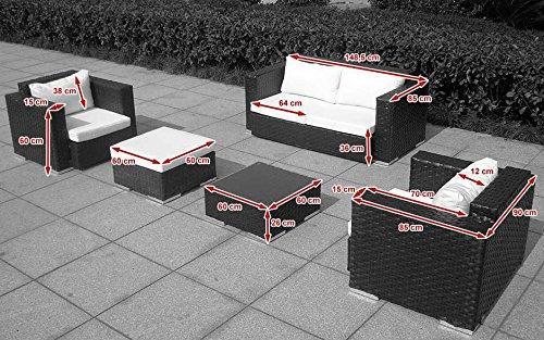 Baidani Gartenmöbel-Sets 10c00042.00002 Designer Rattan Lounge-Garnitur Calypso, 1 2-er-Sofa, 2 Sessel, 1 Hocker, 1 Couch-Tisch mit Glasplatte, braun - 2