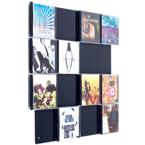 Farbige Design CD-Wand / CD Wanddisplay / CD Wandhalter / CD Halter - CD-Wall Square 4x4 Farbe: schwarzgrau für 16CDs zur sichtbaren Präsentation Ihrer Lieblings Cover an der Wand