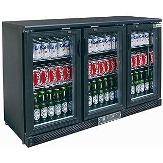 Arrière bar réfrigéré porte battante vitrée - 3 portes