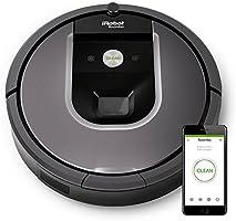 iRobot Roomba 960 Robot Aspirapolvere, Sistema di Pulizia con Dirt Detect e Spazzole Tangle-Free, Adatto a Pavimenti e Tappeti, Ottimo per i Peli degli Animali Domestici, Connessione Wi-Fi, Argento