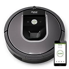 Idea Regalo - iRobot Roomba 960 Robot Aspirapolvere, Sistema di Pulizia con Dirt Detect e Spazzole Tangle-Free, Adatto a Pavimenti e Tappeti, Ottimo per i Peli degli Animali Domestici, Connessione Wi-Fi, Argento