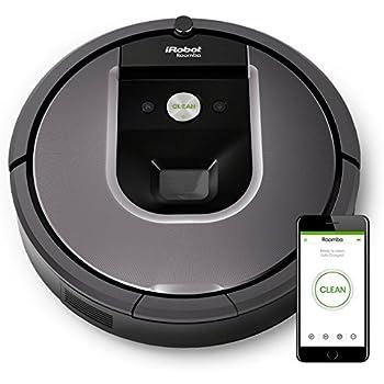 iRobot Roomba 960 Aspirateur Robot, système de nettoyage ultra puissant avec Dirt Detect, aspire tapis, moquettes et sols durs, connexion Wi-Fi, argent