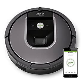 iRobot Roomba 960 Robot Aspirapolvere, Sistema di Pulizia Dirt Detect, Spazzole Tangle-Free, per Pavimenti e Tappeti, Ottimo per i Peli degli Animali, Wi-Fi, 70 dB, autonomia: 75 min, Argento