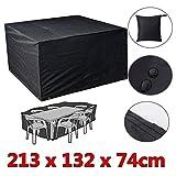 Jeteven Mobili Copertura Impermeabile per Mobili da Giardino Protezione Antipolvere Protezione Antipolvere per Set di Sedie Nero in PVC 213x132x74cm