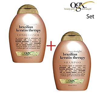 ogx® (ehemals Organix) Ever Straight Brazilian Keratin Smooth SHAMPOO 385 ml + CONDITIONER / SPÜLUNG 385ml - für den länger anhaltenden Style bei welligem und lockigem Haar