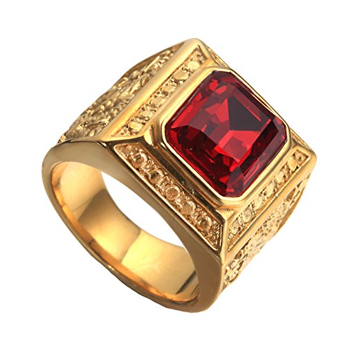 PAURO Herren Edelstahl Jahrgang Golden Square Ringe Chinesischen Stil HerrschsüChtigen Drachen mit GroßEn Stein Rot GrößE 65