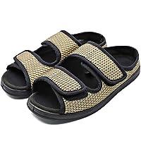 Womens Diabetic Shoes Adjustable Slippers Comfortable Sandal Open Toe Extra Wide Width Roomy for Swollen Arthritis Feet Elderly Mother Woman (6.5 M US, Adjustable - Khaki)