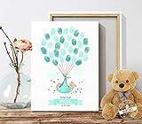 Geschenk zur Taufe und Geburt süßer Babybär Taufbaum für Fingerabdrücke Erinnerung Kinderzimmerdeko Leinwand oder Papier PERSONALISIERBAR