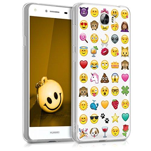kwmobile Hülle für Huawei Y6 II Compact (2016) - TPU Silikon Backcover Case Handy Schutzhülle - Cover klar Emoji Design Mehrfarbig Transparent