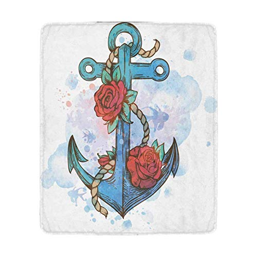 Mesllings Vintage Anker und rote Rosen auf Blau, superweich, leicht, warm, kuschelig, Plüsch Decke für Couch,Bett, Stuhl, 127 x 152 cm Vintage-olive Wood