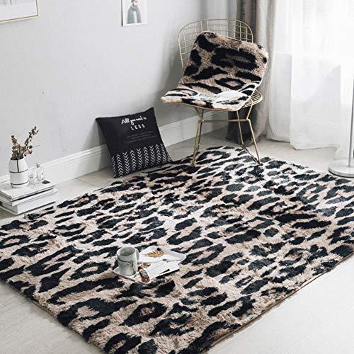 Love House Shag Teppich Super Weich Langflor Fluffy Teppich Rechteck Moderne Leopard Fußboden Teppich Wohnzimmer Fußmatten Für Schlafzimmer Dekor Kindergarten-schwarz 190x195cm(75x77inch) -