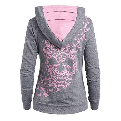 SANFASHION Sweat à Capuche Femme, Kangourou Hoodie Imprime Tête de Mort Papillon Sweat Shirt Hiver De noël (Gris,M)