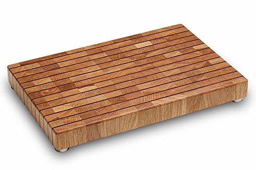 PREMIUM Hackblock aus Eiche - 45x30cm ✓ Massives Holz ✓ Messerschonend & Rutschfest ✓ Monumentales Design | Pflegeleichtes Hackbrett, Tranchierbrett aus Hirnholz | Profi Hackklotz, Butcher Block