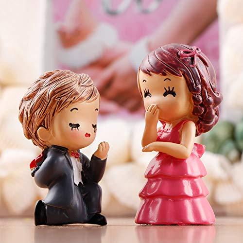 Sanwood Miniatur-Figur für den Garten, Braut und Bräutigam, Puppenhaus, Pflanzentopf, Heimdekoration, 2 Stück (Bräutigam Braut Halloween Und)