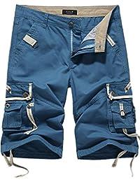 SSLR Shorts Cargo Armée Coton pour Homme Été