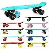 MAXOfit® Mini Cruiser Retro Skateboard American Style, 55 cm aus Kunststoff und Aluminium (Hawaii)
