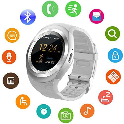 Montre Connectée Sepver Smart Watch Sn05 ronde Smartwatch podomètre tracker de fitness avec emplacement pour carte SIM TF notifications d'appel pour iOS Android Samsung Huawei Sony LG HTC Google Homme Femme Enfants (blanc)