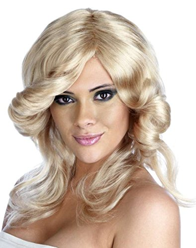 Ladies Farrah Fawcett Style 70s Flick Wig Blonde