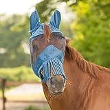WALDHAUSEN Fliegenmaske Premium mit Ohrenschutz und Nasenfransen, Warmblut, taubenblau