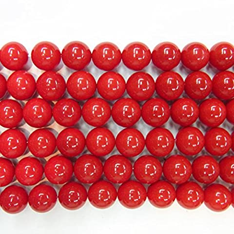 6mm Round Shell Red Coral Type A Grade 15''L by TheTasteJewelry