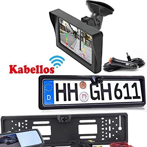 Rückfahrkamera mit Nummernschild inkl. Autoscheibe Monitor - Bis zu 5 Jahre Garantie. Drahtloser Kabellose Funk oder Kabel Vinbindung für PKW KFZ Auto Bus & Transporter - Rear View Camera Kamera