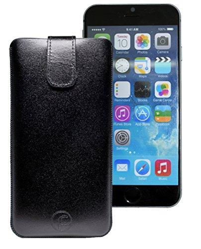 Original Favory Etui Tasche für iPhone 8 PLUS | iPhone 7 PLUS | iPhone 6s PLUS (5.5 Zoll) | Leder Etui Handytasche Ledertasche Schutzhülle Case Hülle *Lasche mit Rückzugfunktion* (UVP 12.90€) In rot Schwarz