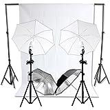RPGT® Hintergrundsystem 2,8 x 3m mit Hintergrundstoff weiss weiß Screen 6 x 3 m Fotolampe Stativ Reflexschirm Komplett Set