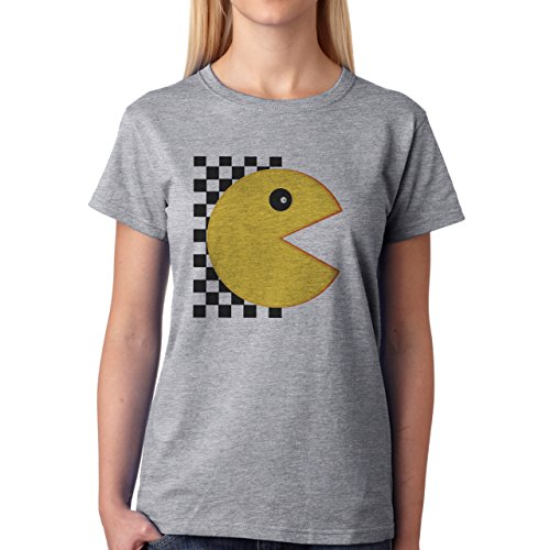 Pack Man Yellow Game Nintendo Race Damen T-Shirt Grau