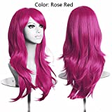 23 pollici donne Parrucca Cosplay Halloween lunga parentesi sintetici capelli Parrucche,Muli Color,24pollici