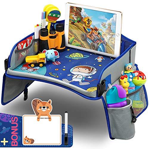 Yooly Vassoio da Viaggio Bambini per auto Toddler, Universale Tavolo Seggiolino Auto Spazio Colorato Superiore Ulteriori Tasche Organizzatore Ampio Supporto per iPad e Tazza per Auto/Passeggino/Aereo