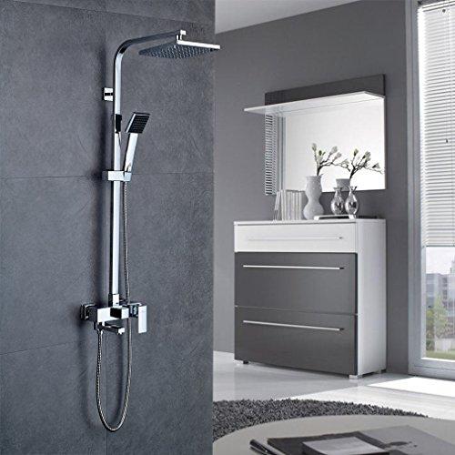 Auralum® Elegant Design Duschset Duschpanel Chrom Duschsystem Wasserfall Duschen Brauseset 3 Wasserspiele Inkl. Handbrause + Duschkopf Wandhalterung