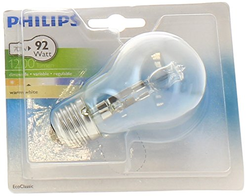Philips Ampoule EcoHalogène Standard Culot E27 70 Watts consommés Equivalence incandescence : 92W