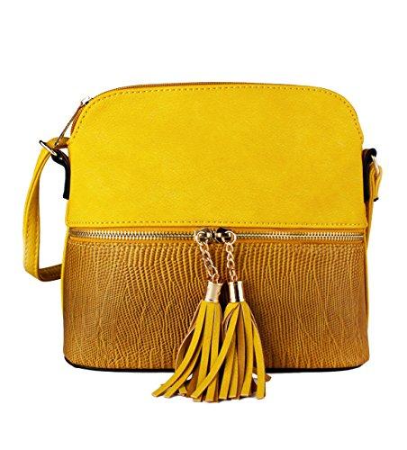 Foxlady Bags - Bolso cruzados para mujer Small, color Amarillo, talla Small