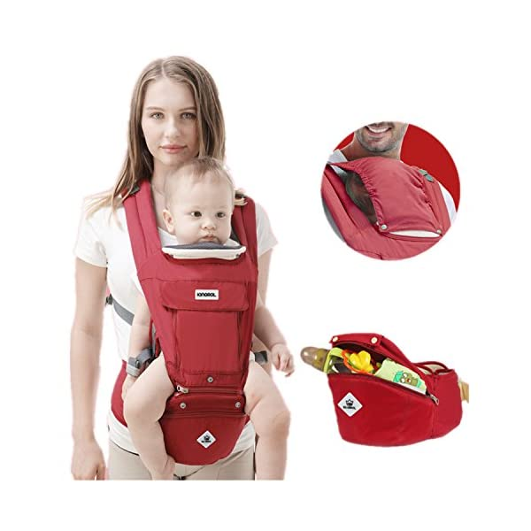 All Seasons 360 Ergonomic Baby Carrier 3 in 1 Backpack with Hip Seat-12 Position,Adapt to Growing Baby (Newborn, Infant & Toddler), Adjustable Baby Carrier Sling,Baby Diaper Bag with Large Capacity tqgold Ergonomic And Comfortable: Ergonomic Butterfly hip seat design to ensure baby's hips and legs are positioned correctly and comfortably, minimizes leg bending and prevents O-LEG Breathable And Soft: 100% cotton with high quality 3-D mesh keeps you and your baby cool. Removable shutter can keep warm in winter and cool in summer, suitable for all seasons use. Wide and sturdy lumbar belt ensures baby's weight is distributed evenly over the carrier's hip and shoulder areas for comfort 3 in 1 and All Carry Positions: The Waist Stool (bucket seat) could be detached from Upper Strap by unbuckling the connection buckles. Both Upper Strap and Waist Stool can be used separately. Front inward (fetal, infant, or toddler settings), front outward, hip or backpack carry options all in one. Face baby in or out. Wear on the hip or back as baby grows. 1