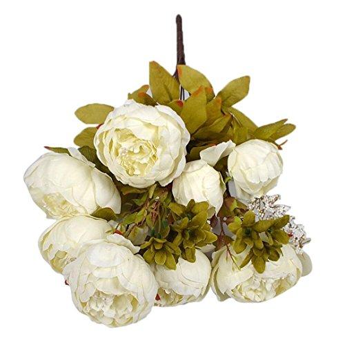 1 Bouquet 8 Köpfe FORH Edler Künstliche Pfingstrose Seiden Blume Blatt Elegant Home DIY Hochzeit Party Decor Plastikblumen Küche Zuhause (Weiß)
