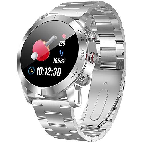 Wanglai Smartwatch, IP68, wasserdichte Halterung für Laufen, Radfahren, Schwimmen, Herzfrequenz, Aktivitäts-Tracker für Männer, silberfarben, Stainless Steel Strap