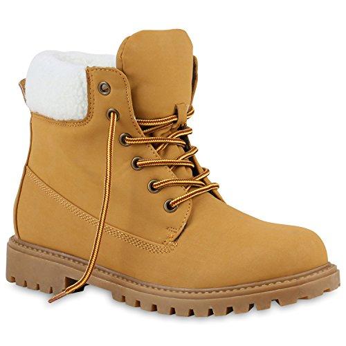 Worker Boots Warm Gefütterte Damen Herren Stiefeletten Stiefel Zipper Kunstfell Outdoor Schuhe 130456 Hellbraun Weiss Gelb 38 Flandell (Herren Gelb Kostüm Stiefel)