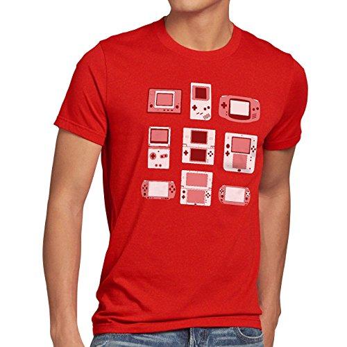 A.N.T. Another Nerd T-Shirt A.N.T. Handheld Konsole Herren T-Shirt Controller Videospiel spielekonsole, Farbe:Rot, Größe:4XL