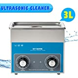 Floureon - Máquina de limpiador por Ultrasonido (3L, 1 - 20 Minutos, 0 - 80 grados, 40 Khz, 27 X 17 X 24 Cm)
