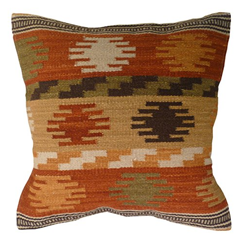 Fair-Trade-Kelim-Kissenbezüge, handgefertigt auf Handwebstühlen mit Wolle/Baumwolle (80/20) und natürlichen Farben, aus Maniyar, Textil, braun, 45 x 45 -