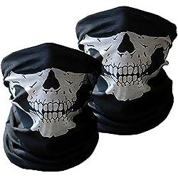 Xpassion Pasamontañas de Calavera 3 pzas Negros sin Costuras de Cara del Cráneo Máscara de Tubo Máscara Facial de la Motocicleta