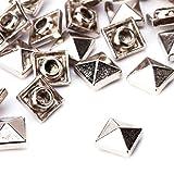Weddecor Goldene, quadratische Pyramidnieten–Für Lederverarbeitung, Bastelprojekte, Taschen, Gürtel, Schuh-Deko, Kleidung, Jeans (100Stück), metall, silber, 10 mm