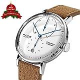 FEICE Herren Uhr Analog Automatik Mechanische Uhrwerk mit Braun Lederband Gewölbtes Mineralglas Kalender Minimalistische Bauhaus Armbanduhren-FM202