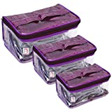 atorakushon® Net Fabric Purple Multipurpose Make Up Jewellery Organizer Cosmetic Necklace Pouch Vanity Box Traveling Kit for Women Set of 3