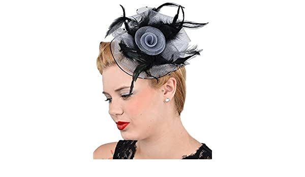 Cute Retro EDELGARD 50s Feahter Flower Netztüll HEADPIECE Rockabilly