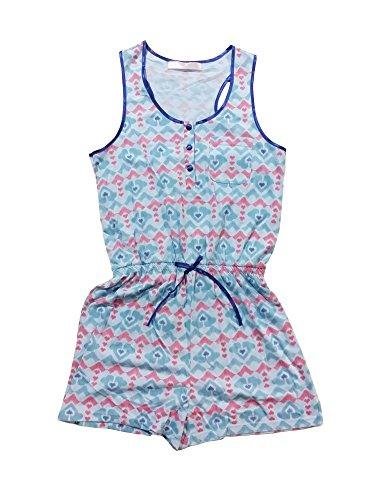 Selena Secrets Genna Combi-Short Pyjama Sans Manches Femme Fille Bleu