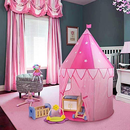 WolfWise Mädchen Spielzelt, Prinzessin Schloss Spielhaus Tippi Kinderzelt für Drinnen/ Draußen, Geschenke für Mädchen & Baby, Pop Up mit Tragetasche, Rosa, 100 x 140cm