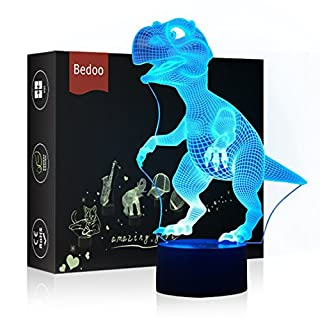 HeXie LED Night Lights 3D Illusion Bedside Table Lamp 7 Colours Changing Sleeping Lighting with Smart Touch Button Cute Gift Warming Present Creative Decoration Ideal Art and Crafts (Dinosaur)