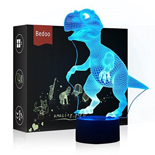 HeXie LED Nacht Lichter 3D Illusion Nachttisch Lampe 7 Farben ändern Schlafen Beleuchtung mit Smart Touch Button Nette Geschenk Warming präsentieren kreative Dekoration ideale Kunst(Dinosaurier) (Halloween Für Kunst-ideen)